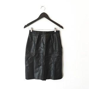 Vintage 80s Black Leather Pencil Skirt